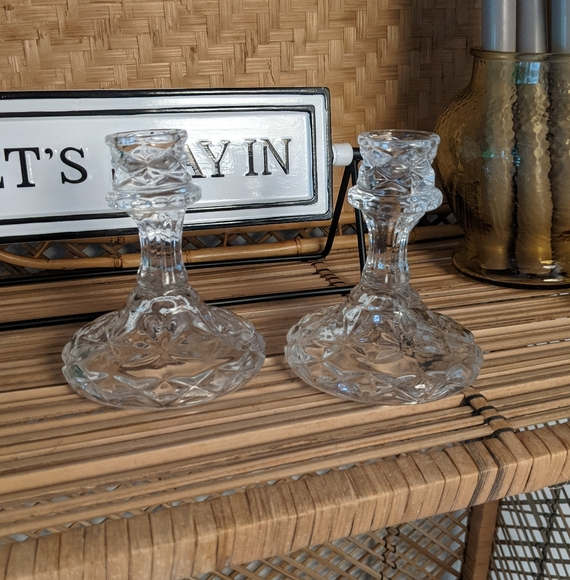 Crystal candle holders (set of 2)